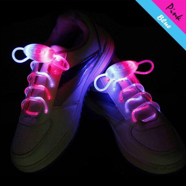 LED svíticí tkaničky do bot - Růžovo - Modré