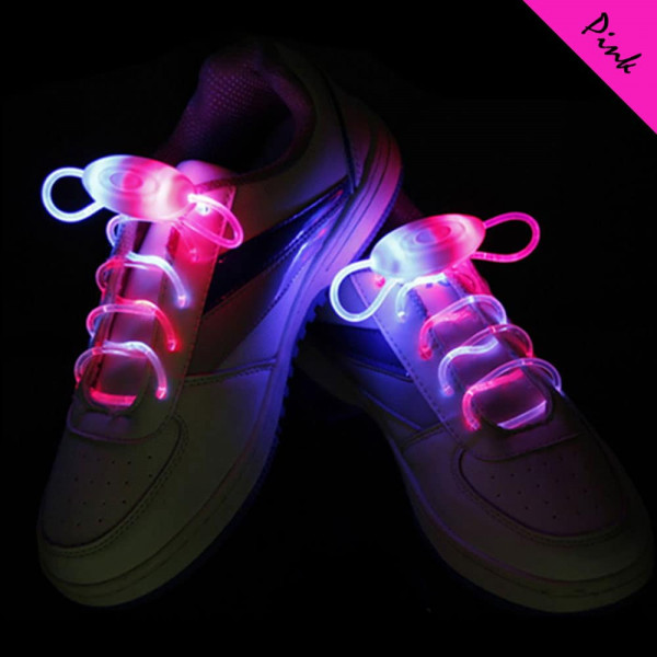 LED svíticí tkaničky do bot - Růžová