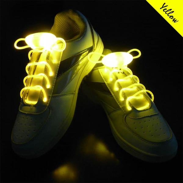 LED svíticí tkaničky do bot - Žlutá