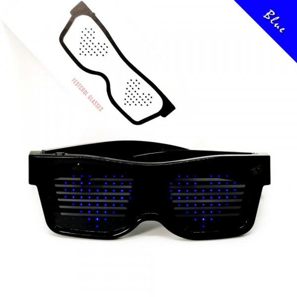 Programovatelné Bluetooth LED svíticí brýle - Modrá