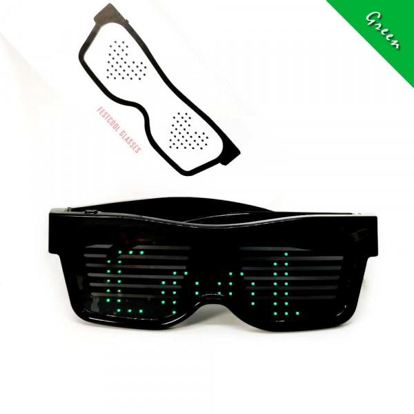 Programovatelné Bluetooth LED svíticí brýle - zelená