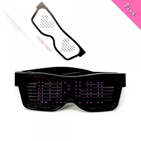Programovatelné Bluetooth LED svíticí brýle - Růžová