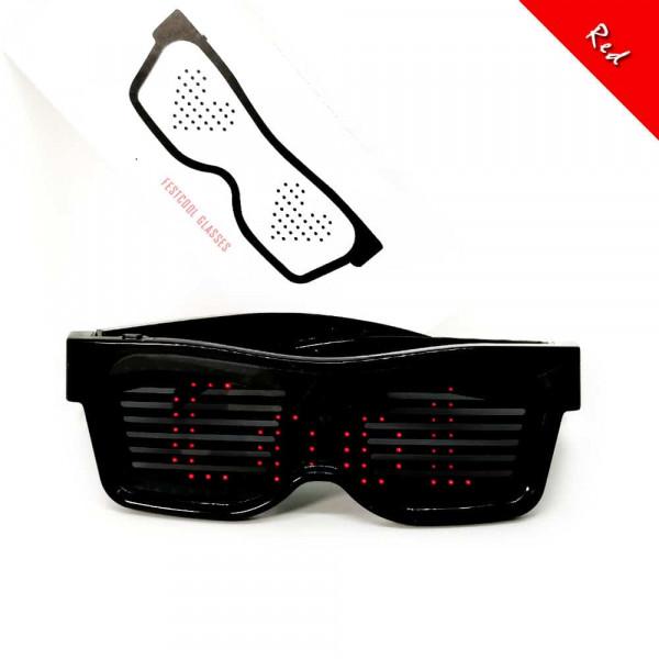 Programovatelné Bluetooth LED svíticí brýle - Červená