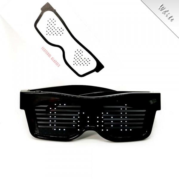 Programovatelné Bluetooth LED svíticí brýle - Bílá